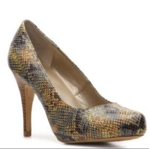 Bandolino Envia Gold Orange Green Snakeskin Pumps
